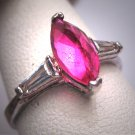 Antique Ruby Wedding Ring Retro Art Deco Silver Band Baguette Cut 1950