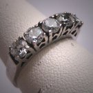 Antique White Sapphire Wedding Ring Band Vintage Art Deco Vintage