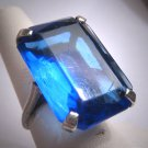 Antique Sapphire Ring Vintage Art Deco Victorian Silver 1920-30