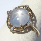Vintage Star Sapphire Ring Antique Art Deco Wedding 18K Diamonds 30s