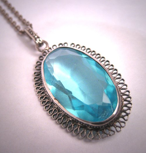 Antique Aquamarine Necklace Victorian Silver Chain Vintage 20s Wedding