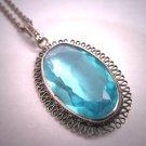Antique Aquamarine Necklace Victorian Silver Chain Vintage 20s Wedding