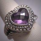 Vintage Amethyst Heart Ring Designer Signed Wedding Engagement Estate