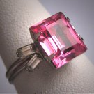Antique Pink Sapphire Paste Ring Vintage Wedding Victorian Art Deco