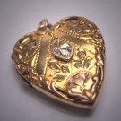 Antique Victorian Gold Diamond Heart Locket Pendant Vintage 1920