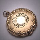 Antique Gold Locket Pendant Necklace Victorian 1920 Chased Design Deco
