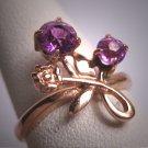 Antique Amethyst Floral Wedding Ring Rose Gold Vintage Art Deco Band