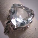 Vintage Aquamarine Platinum Ring Estate Art Deco Antique Wedding