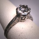 Antique White Sapphire Wedding Ring Vintage Art Deco Engagement 1900