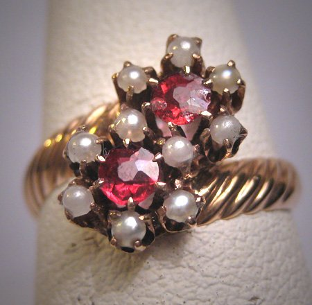 Antique Garnet Ring Victorian with Seed Pearl Gold Wedding c.1900