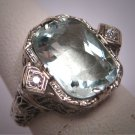 Vintage Aquamarine Diamond Ring Estate Art Deco Antique Wedding c.1920