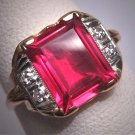Antique Ruby Diamond Ring Vintage Art Deco Wedding 1920