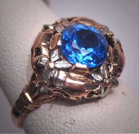 Antique Sapphire Ring Vintage Victorian Art Deco Rose Gold 18K