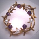 Antique Pearl Amethyst Brooch Akoya Pin Designer Signed Wreath Deco