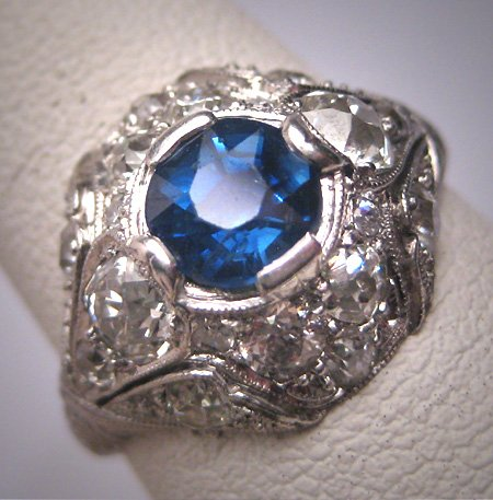 Antique Platinum Sapphire Diamond Wedding Ring Vintage Art Deco c.1920