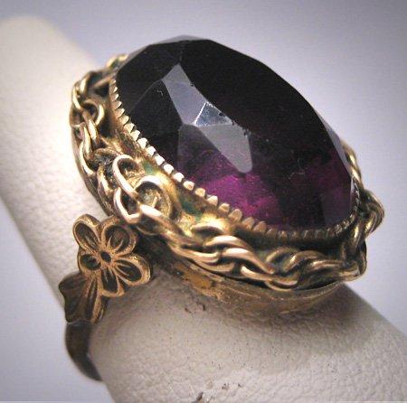 Antique Large Amethyst Paste Ring Vintage Victorian Art Deco c.1920
