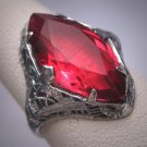 Antique Ruby Ring Wedding Vintage Art Deco Fine Filigree c1920