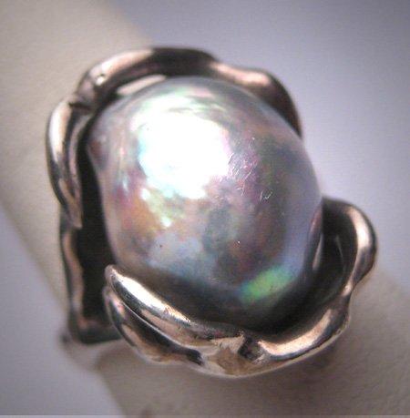 Estate Large Blue Pearl Ring Vintage Modernist Retro Deco