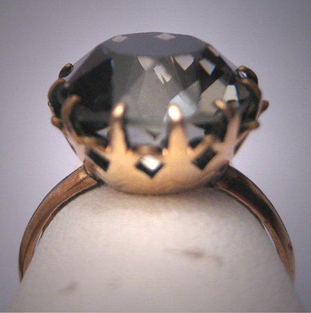 Antique Smokey Quartz Wedding Ring Victorian Art Deco Gold Crown