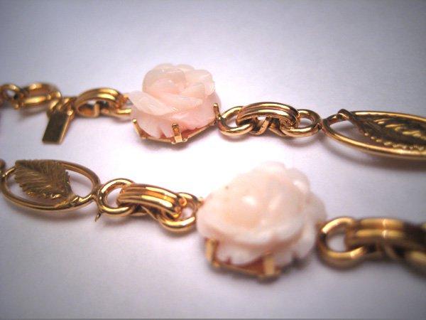 Antique Pink Genuine Coral Bracelet Gold Floral Vintage Art Deco 1930