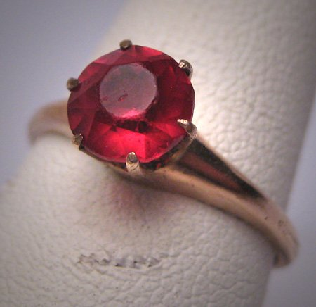 Antique Ruby Wedding Ring Victorian Art Deco Engagement circa 1900 Gold
