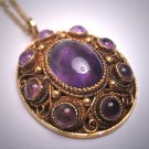 Antique Amethyst Cabochon Filigree Necklace Vintage Art Deco Renaissance Revival c.1920