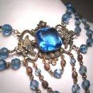 Antique Victorian Sapphire Necklace Art Deco Czech 1920 Wedding Festoon