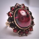 Antique Victorian Bohemian Garnet Ring Vintage Cabochon and Rose Cuts c.1900 Euro Gold Wedding