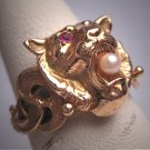 Rare Antique Art Nouveau Lion Ring Ruby Pearl 14K Gold c.1890 Wedding Band