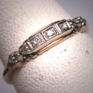 Antique Diamond Wedding Ring Band Vintage White and Yellow Gold 18K 1930