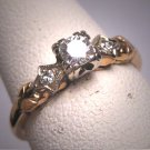 Antique Diamond Wedding Ring Victorian Art Deco Vintage 14K 1930