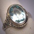 Vintage Aquamarine Diamond Ring Estate Art Deco Antique Wedding 1920