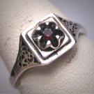 Antique Garnet Filigree Wedding Ring Vintage Victorian Engagemen