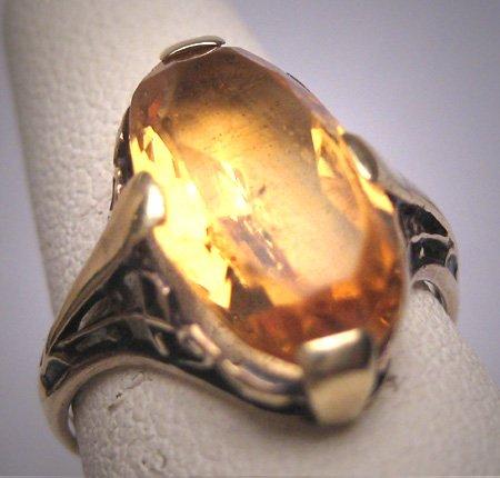 Antique Golden Canary Citrine Ring Victorian Art Deco Wedding c.1900 Engagement