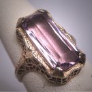 Antique Rose de France Amethyst Ring Victorian Art Deco Wedding c.1900 White Gold