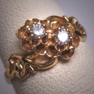 Antique Victorian Diamond Ring Wedding Vintage 1930 Gold Ornate Scroll Buttercup Band