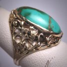 Rare Antique Art Nouveau Green Turquoise Ring Band Rose Gold Victorian