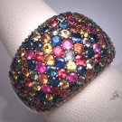 Vintage Colored Sapphire Ring Estate Gemstones Sterling Silver Designer Band Wedding Gorgeous!
