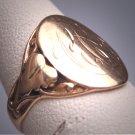 Antique Rose Gold Signet Ring Leaf Motif Wedding Band Victorian Art Nouveau