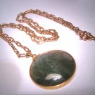 Rare Antique Moss Agate Fob Necklace Vintage Yellow Gold Victorian Art Deco c.1900