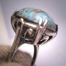 Antique Turquoise Ring Vintage Victorian Renaissance Revival Silver c.1930
