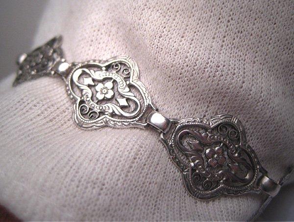 Vintage Floral Filigree Edwardian Art Deco Bracelet Sterling Silver c.1900 Wedding Bridal