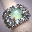 Vintage Australian Jade and Blue Topaz Ring Estate Retro Art Deco