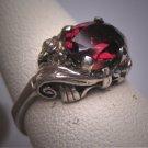 Antique Garnet Wedding Ring Vintage Victorian Filigree Floral Engagement
