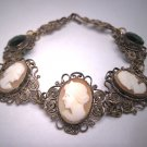 Antique Cameo Bracelet with Emerald Stones Italian Filigree Vintage