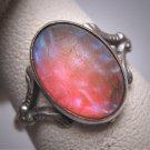 Antique Dragons Breath Opal Ring Victorian Art Deco Silver Filigree c.1900