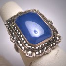 Antique Blue Chalcedony Rose Cut Marcasite Ring Vintage Art Deco 1920