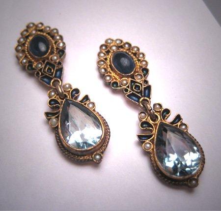 SOLD Vintage Sapphire Blue Topaz Seed Pearl Earrings Enamel Victorian Georgian Revival
