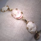 Antique Cameo Bracelet Vintage Neo Classic Victorian Art Deco 1920 Pink Shell