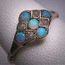 Antique Victorian Australian Opal Pearl Ring Vintage Wedding Rare 1800s